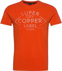 ss workwear graphic tee 185 t-shirts short-sleeved orange superdry