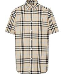 check print short-sleeve shirt, light almond