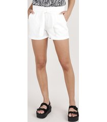 short de sarja feminino clochard com bolsos off white