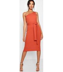 one shoulder belted midi dress, rust