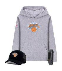 moletom canguru cinza e boné preto personalizado time de basquete new york knicks com relógio de brinde