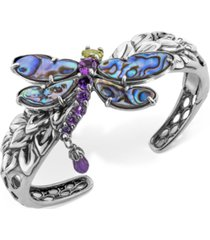 multi-gemstone dragonfly bangle bracelet (9-3/4 ct. t.w.) in sterling silver