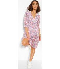 bloemenprint midi jurk met korte mouwen en dubbele laagjes, meerdere