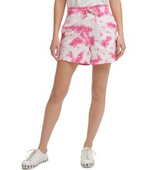 dkny jeans cotton tie-dyed pull-on shorts
