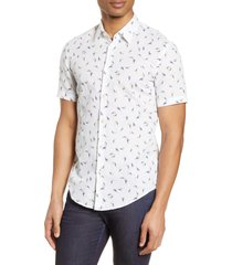 boss ronn slim fit print short sleeve button-up linen & cotton shirt, size large in white at nordstrom