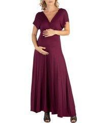 24seven comfort apparel cap sleeve v neck maternity maxi dress