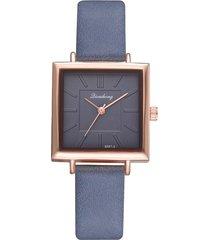 reloj pulsera mujer cuadrado pulso cuero pu 615 azul