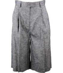 lorena antoniazzi linen blend bermuda pants with pleats