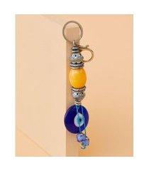 chaveiro com olho grego - chaveiro greece cor: azul - tamanho: único