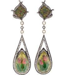 carved tulip mosaic earrings