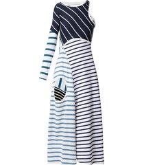 marine serre contrast-stripe dress - black