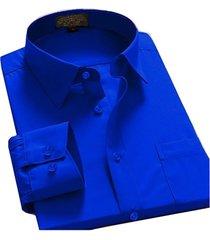 men's regular fit long sleeve solid color elegant casual dress shirt royal blue