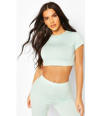 crew neck cap sleeve crop top, mint