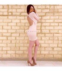 vestido con abertura en espada - sarab - rosa palido