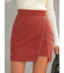 minifalda de pana con cremallera frontal yoins