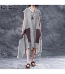 zanzea las mujeres de manga corta con cuello en v larga camisa de vestir de la cascada vestido de tirantes vestido de la camiseta plus -gris