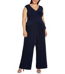 adrianna papell ruffle draped jersey jumpsuit, size 18w in midnight at nordstrom