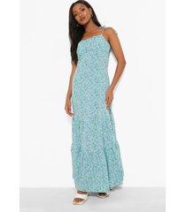 petite bloemenpatroon midaxi jurk, turquoise