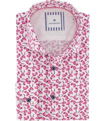 blue industry overhemd roze print