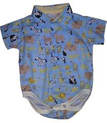 body camisa social manga curta blue kids savana