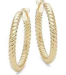 saks fifth avenue 14k yellow gold twisted hoop earrings