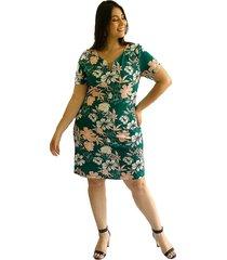 vestido estampado flores con dije en escote verde plica