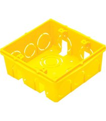 caixa de luz tramontina, 4x4 cm, amarelo - 57500042