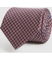 reiss weir - silk micro geo tie in bordeaux, mens