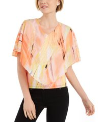 jm collection petite printed overlay top, created for macy's