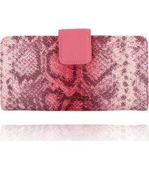 carteira clutch campezzo snake pink - tricae