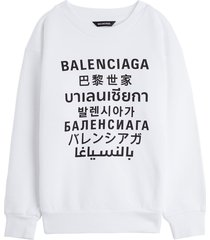 balenciaga cotton sweatshirt with languages print