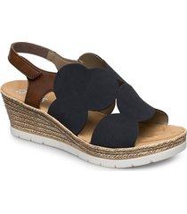 61919-14 sandalette med klack espadrilles blå rieker