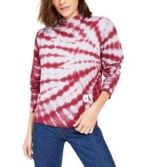calvin klein jeans tie-dyed mock-neck sweatshirt