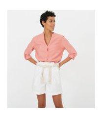 camisa manga longa lisa com decote v | marfinno | rosa | m