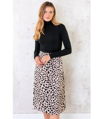 cheetah satin rok beige