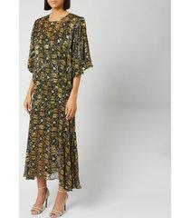 preen by thornton bregazzi women's lydia dress with slip - black/yellow - s - black