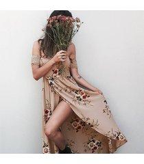 vestido casual generico playa estampada de gasa - khaki