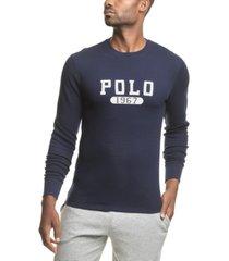 polo ralph lauren men's big & tall polo 1967 logo waffle-knit pajama shirt