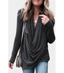 camiseta gris oscuro con escote en v profundo plisado diseño manga larga con dobladillo con abertura