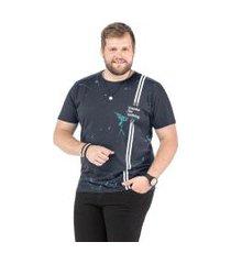 camiseta plus size masculina estampada tze