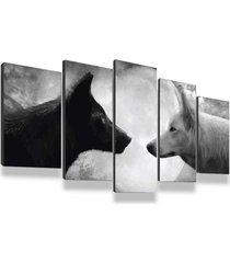 kit 5 quadros decorativos sala quarto 135x60 casal de lobos lua cheia