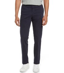 men's nordstrom trim straight leg stretch flat front chino trousers, size 36 - blue