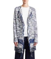 vertical fringe multi knit tweed jacket