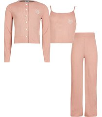 river island pink ribbed cardigan wide leg trouser outfit