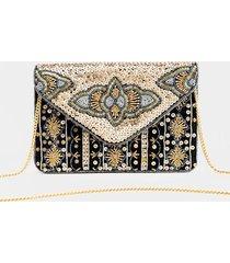 jazelle geo print beaded handbag - gold