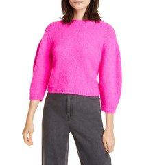 women's tibi cozette alpaca & wool blend crop sweater, size xx-small - purple