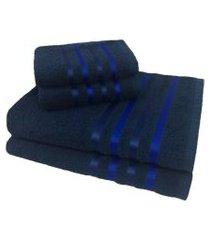jogo de toalha 4 peças kit de toalhas 2 banho 2 rosto jogo de banho azul
