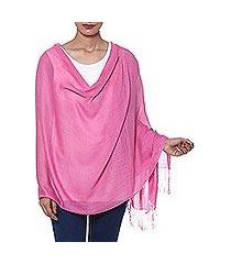 wool and silk blend shawl, 'orchid allure' (india)