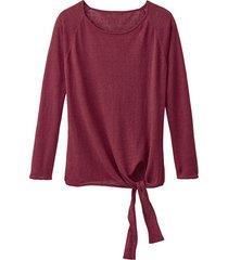 luchtige linnen pullover met bindsluiting, granaat 44