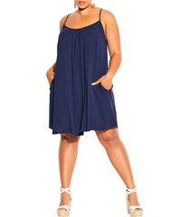 city chic vacation trapeze dress, size medium in navy at nordstrom
